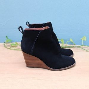 Lucky Brand Yezzah Suede Wedge Ankle Boots Sz 7.5